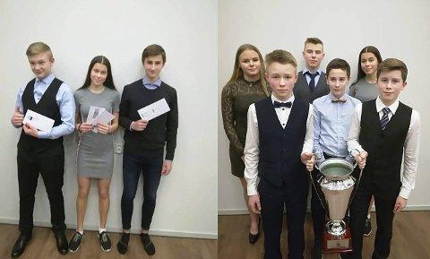 HEDER OG ÆRE: Til venstre Henrik Vesterlid, Sigrid Forsmo Kapskarmo og Sondre Mjølkarlid som fikk hver sine priser. Til høyre er gjengen fra Hattfjelldal som var med i Lerøy-lekene og som ble hedret med prisen «Årets øyeblikk».