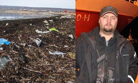 VIL HA GRATIS LEVERING: Natur og Ungdom ønsker at fiskerne skal få levere plastsøppel gratis. Det ønsker Svein Vegar Lyder velkommen, selv om han er uenig i at fiskerne er dem som forsøpler havet mest. Bildet til venstre er tatt i fjæra ved Nesseby kirke for et par år siden.