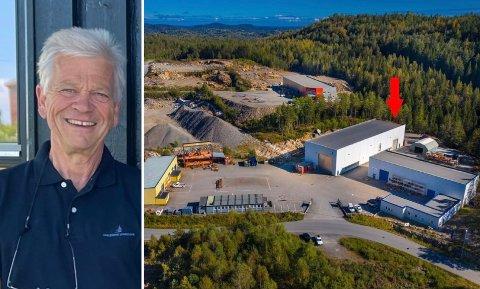 TIL SALGS: Slik ser eiendommen ut fra lufta. Det er Vestmar Production og Kragerø Maskinering som holder til i bygningene i dag. Jon Guste-Pedersen ved Skagerrak Sparebank forteller om bakgrunnen for salget.