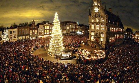 BENKERS: Juletreet som ble sendt til Gouda i 2017 skal nå bli benker. Men dette er fra en annen anledning.