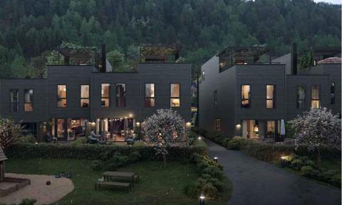 SMÅHUS: Slik ser utbyggerselskapet Solon for seg småhusbebyggelsen i Gamleveien 1. llustrasjonen er hentet fra prosjektpresentasjonen, kalt «Transformasjon fra industri til boligidyll». Ill.: Solon Eiendom/HRTB Arkitekter