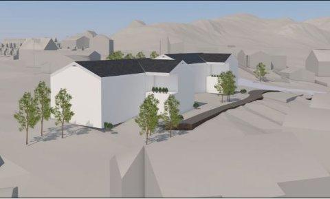 Perspektivtegning av bygninger.