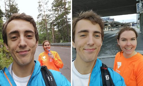 LANG TUR: Hans Viktor Pedersen og Rebecca Linnéa Bruusgaard-Orning fikk seg en herlig opplevelse da de gikk helt fra Vestby stasjon til Oslo S i helgen.