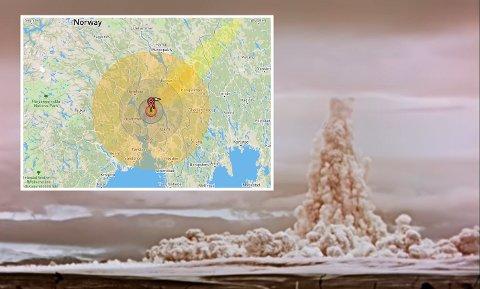 Kraftig: Tsar Bomba er den største bomben som noen gang er skapt og detonert. Bildet viser røyk etter detonasjonen i 1961. Kartet viser hvordan eksplosjonen ville slått ut i Oslo.