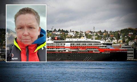 Lise Horgmo gikk av Hurtigrutenskipet Roald Amundsen i Tromsø. Nå er hun bekymret for om hun kan ha bidratt til økt smitte. Foto: Scanpix/Privat