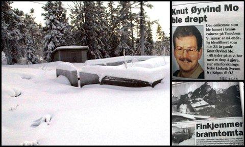ÅSTEDET: Huset til Knut Øyvind Mo brant ned i forbindelse med drapet natt til 9. januar 1999. Nå håper politiet i Innlandet at cold case-enheten i Kripos kan hjelpe til med å komme nærmere en løsning. Arkibilder/faksimile