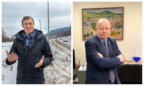 SVÆRT OVERRASKET: Kommunedirektør Magnus Mathisen og ordfører Torvild Sveen reagerer på at blant annet riksvei 4-utbygging mot Mjøsbrua ikke spilles inn til ny tansportplan fra vegvesenet.