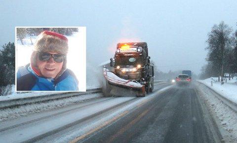 TRAVLE DAGER: Brøytemannskap landet rundt har mye å gjøre i disse dager. Rune Lien fra Odnes i Søndre Land har vært i brøytebransjen i 26 år. Han synes de aller fleste bilister viser bra tålmodighet når han er ute på jobb.