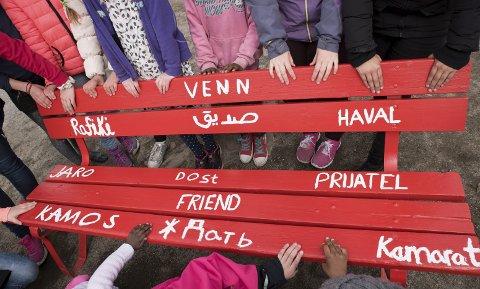 Alle skolens språk: På vennskapsbenken er alle skolens språk representert.