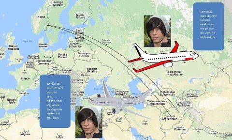 FRAM OG TILBAKE: Lørdag ble Aref Husseini sendt ut av landet, fordi Utlendingsnemnda i 2013 avslo asylsøknaden hans. Søndag ble han sendt ut av Afghanistan, fordi afghanske myndigheter ikke vil ta imot ham. (Kart / foto / illustrasjon: Google / Bjørn-Frode Løvlund / Kjetil Brorson Dahl)