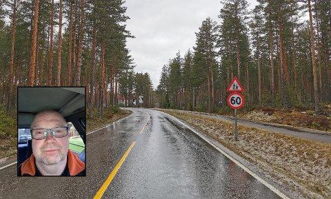 FORT: Bjørn Sveen pendler på Strandbygdvegen hver arbeidsdag, og sier at han ser mye uforsiktig kjøring på strekningen mellom Elverum og Rena.