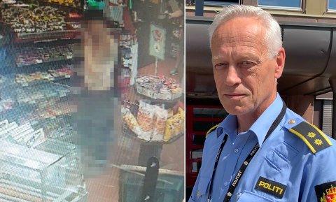 AVSLØRT: Her blir mannen filmet mens han låner verktøy på bensinstasjonen. Like etter oppdaget man at Tim Rudi Smedhaugens (17) lettmotorsykkel var demontert og ødelagt. Bent E. Øye ved Hønefoss-politiet bekrefter at han er pågrepet.