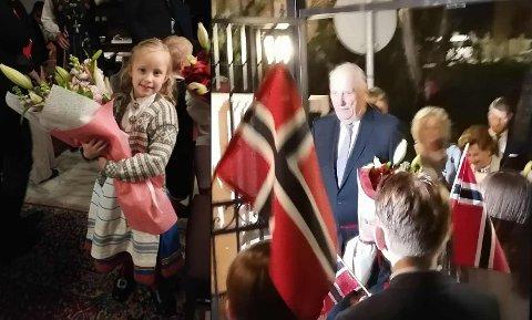 TOK IMOT KONGEPARET: Sannah A. Bergman (6) ga blomster til Kong Harald og Dronning Sonja da de innledet statsbesøket til Jordan søndag kveld.