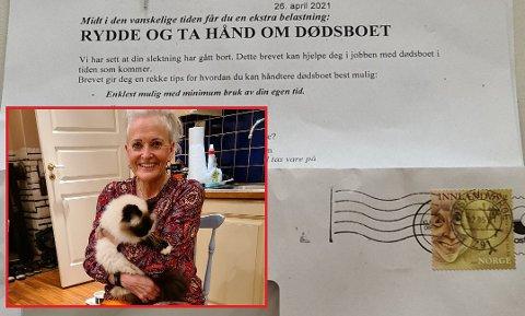 SPESIELT: Bjørg Nesteby i Hølen fikk dette brevet i postkassa av et dødsbofirma ville tilby sine tjenester etter at de hadde sett at en slektning hadde gått bort. Men ingen i familien til Bjørg hadde dødd.