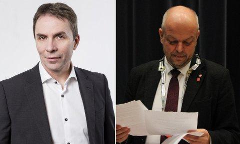 STEILE FRONTAR: Wizz Air-sjef József Váradi (til venstre) er kritisk til fagforeiningar, noko som får ordførar Hilmar Høl i Årdal til å oppfordrar til boikott. Selskapet har varsla søksmål mot kommunar og fylke som legg seg på ei slik linje.