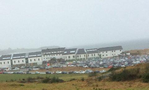 Sola Strand hotells parkeringsplass under trimløpet som ble arrangert i helgen.