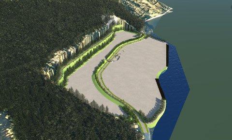 FLYTTER VEIEN: For å få plass til 160.000 kvadratmeter, eller 160 mål, med næringsareal er det tenkt å flytte fylkesveien, bygge utover i fjorden og sprenge innover.