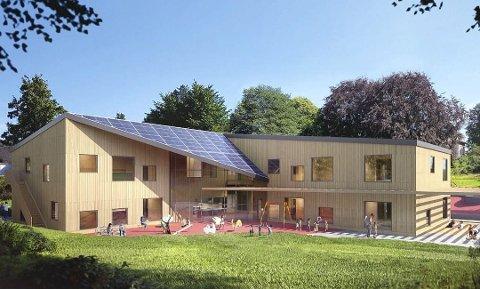 BYGGES NÅ: Maristien barnehage er på full fart opp og skal stå klar til bruk etter sommeren i år.