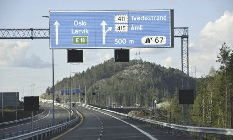 Pass på: Politiet vil holde hele E18 fra Kristiansand til Telemarks grense under oppsikt kommende uke. Regn med flere kontroller.