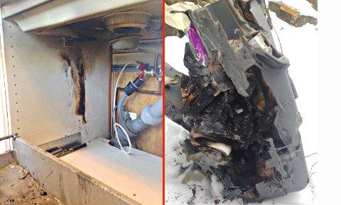 TOK FYR: Tydelige spor etter brann i siden på benkeskapet. Vannlåsen på kummen har også brent. Til høyre ser du avfallsbøtta fullstendig deformert.