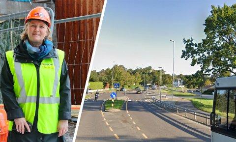 GUL VEST: Rektor Lill-Kristin Høier Sandvik sier hun selv reagerer og er ekstra varsom når hun ser folk med gul vest i trafikken. Det håper hun andre også vil være langs skoleveien til elevene sine.