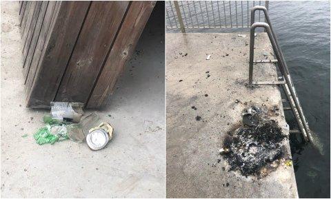 ØDELEGGELSER: Noen har brent bål og knust flasker midt på den nye Ringshaug-moloen.