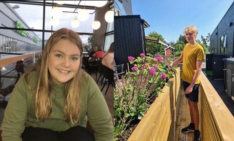 KREATIVE: 15-åringene Emilie Glomstad Mordal og Odin Nedrelid, begge fra Son, har ordnet seg jobb helt ved egen hjelp i sommer.