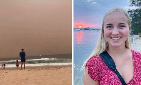 BOR I AUSTRALIA: Martine Halvorsen bor i Sydney dette skoleåret. Brannene som herjer i Australia påvirker også henne. Bildet til venstre har Halvorsen tatt selv og viser røyk i luften. Noen dager er så ille at hun må holde seg innendørs.