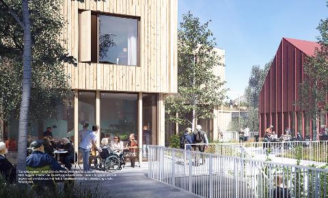 LANDSBYGATE: Slik ser arkitektene for seg at et fellesområde med butikker, verksteder, plasser, restaurant og kafé kan bli. Illustrasjon: 3RW arkitekter og NORDArchitects
