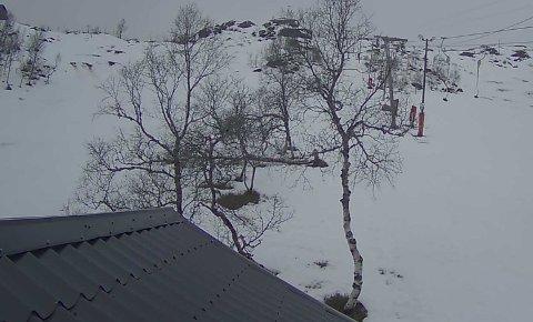 Dette biletet er henta frå webkameraet til Stordalen skisenter på fredag. Det er ikkje mykje snø der oppe, men dei reknar med å ha ope i vinterferien.
