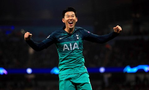 Tottenham Hotspur's Son Heung-min celebrates his side's third goal scored by Fernando Llorente during the  Champions League quarterfinal second leg soccer match at the Etihad Stadium, Manchester, England, Wednesday April 17, 2019. (Mike Egerton/PA via AP)