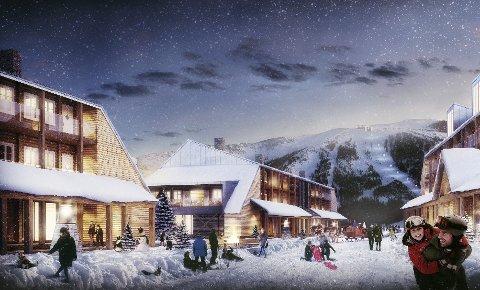 SENTRUM: Slik skal den lille landsbyen bli. En gågate med butikker og restauranter 800 meter over havet.  Illustasjon: Paal Kahrs Arkitekter