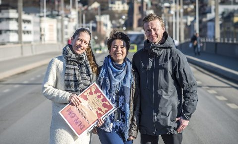 PRISVINNERE: Drammens Tidende journalistene Vivi Skalleberg, Camilla Øvrebø Ondrckova og Øyvind Schou skrev artiklene med kjærlighet og stolthet til Drammen. Nylig fikk de pris under Buskerud Journalistlags prisutdeling. FOTO: RUNE FOLKEDAL