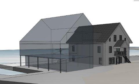 PERSPEKTIV: Så stort blir bygget på kaia ved Kafe Vest- på plassen som har vore brukt til konsertscene på festivalar i Kalvåg.