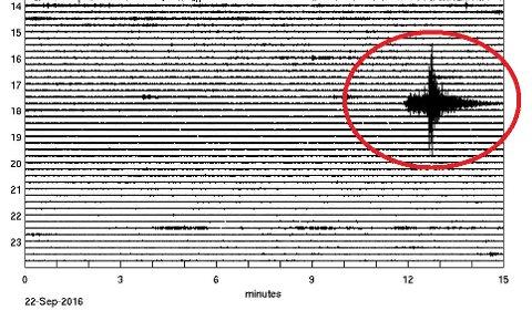MÅLING FRÅ HAMAR: Slik såg jordskjelvet ut på målaren på Hamar.
