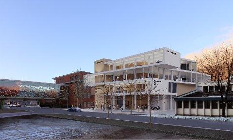 NYNORSKHUSET: Slik skal det nye Nynorskhuset bli. Der skal både Firda, NRK og Teater Vestland ha sine lokale.