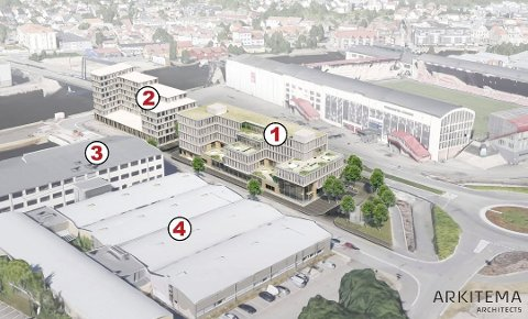 Store planer: Illustrasjonen viser noen av planene på Værste. Nummer 1 på illustrasjonen viser det planlagte bygget til Fredrikstadklinikken. Nummer 2 viser Statens hus. Nå ser det mørkt ut for begge de to byggene.