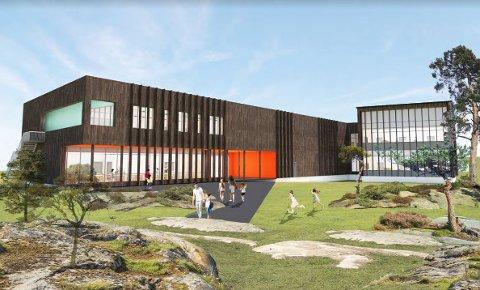 Slik har arkitekten tenkt seg at den nye barneskolen på Asmaløy skal bli. Hvaler skal bygge ny barneskole på Asmaløy, mens Åttekanten og Floren skal legges ned.