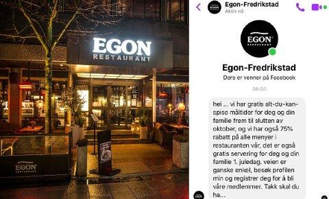 Det ser for godt ut til å være sant, tilbudet som tilsynelatende kommer fra Egon i Fredrikstad. Og det er det: Profilen er falsk og Egon-sjefen ber folk innstendig om ikke å følge instruksene fra den falske profilen.