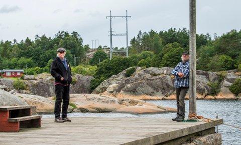 Hagbart Solløs, til høyre,  og Gunnar Moreite mener det er nødvendig å finne andre løsninger enn å sette opp slike master i vakre Skjelsbosund. Blant annet kunne det  vært lagt sjøkabel over sundet.