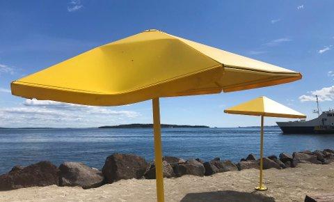 SÅNN SER DE UT NÅ: De gule nye parasollene i havna fikk ikke stå lenge før noen fant ut at de skulle ødelegges. Dette koster havnevesenet dyrt.