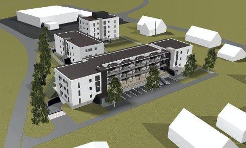 Etter 2018: Slik skal leilighetskomplekset se ut når alt er ferdig. I bakgrunnen Coop-bygget.ILL: Ø.M. Fjeld AS