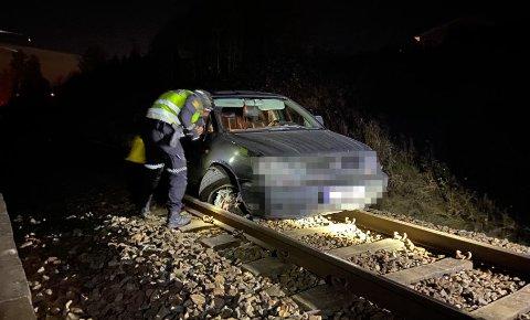 BILJAKT: Her endte biljakten lørdag kveld. Føreren er fortsatt ikke funnet.