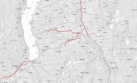 ASFALT: Her er de fire store strekningene som skal få ny asfalt plassert på kartet.