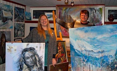 Dyktige malere: Bjørn Frode og Agita har ikke tall på hvor mange malerier de har laget. Nå planlegger de også å bruke sin brede erfaring med kunst og undervisning på å arrangere tegne- og malekurs for alle interesserte.