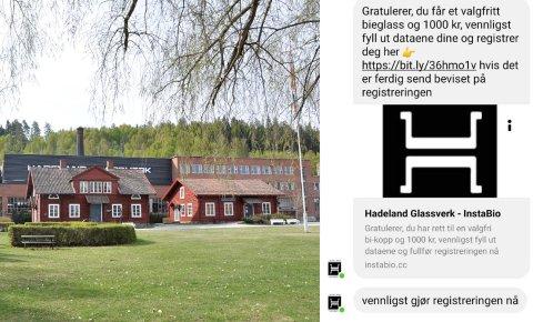 FORSØK PÅ SVINDEL: Dette er ikke et tilbud fra Hadeland Glassverk, opplyser selskapet i sosiale medier.