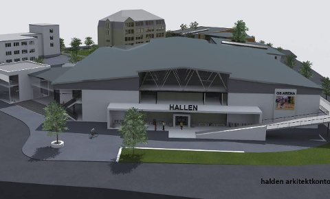 BYGGESTART 2017? En tidligere tegning av en eventuell idrettshall på Os. med to håndballflater. Halden arkitektkontor