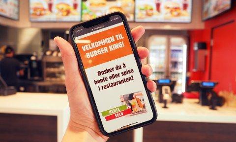 APP: Slik ser den ut, appen som gjør at man heretter kan bestille og betale burgermåltidet på sin egen mobil.