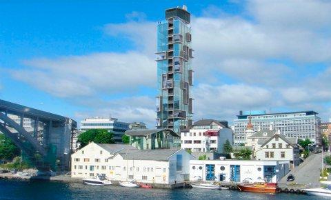Slik så Stein Lande og Trygve Seglem for seg høyhuset ved Risøybrua.