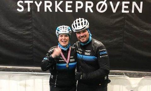 I MÅL: - Mannen min skulle egentlig ikke sykle, men ble med for min del, sier Lene Agathe Iversen. Her med mannen Gisle Kristiansen etter målgangen i Oslo sist søndag morgen.